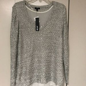 Apt 9 Silver Sweater with sequins, XL